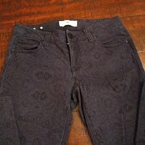 CABI jeans blue with black lace patern. Soft